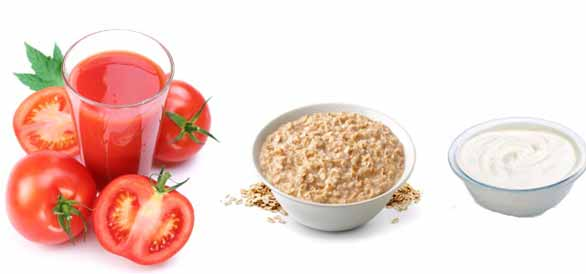 Tomato, Yogurt Oatmeal Face Pack