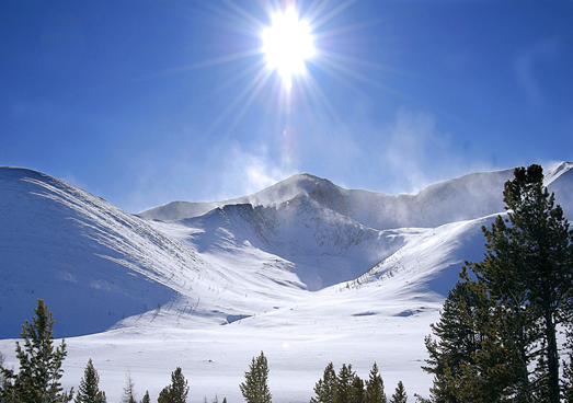 Winter sun blended with snow glare